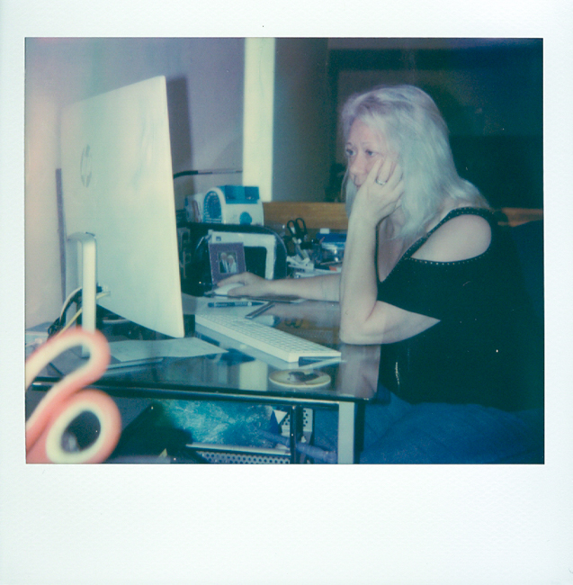 In this shot Liz is editing a Polaroid related article for SilvergrainClassics magazine.